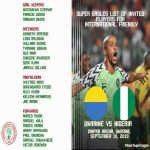 Nigeria announces squad for their friendly against Ukraine
