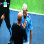 Aguero arguing with Pep Guardiola