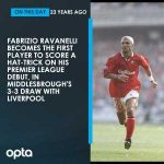 On this day in 1996, Fabrizio Ravanelli became the first (and so far, only) player to score a hat-trick on his Premier League debut. He scored his treble in Middlesbrough's 3-3 draw with Liverpool.