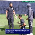 Brighton player (Bernardo) trying to injur his teammate (Andone) before the game