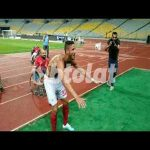 Ramadan Sobhi celebrates with Al Ahly fans after winning the league