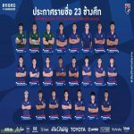 The Thailand team closed the list of 23 players for the match against Vietnam