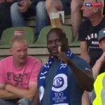 Schalke 04 fan carrying his beer