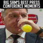 "Had Sam Allardyce saying ""Gatorade"" on repeat for about half an hour now"