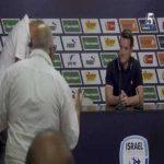 Older Israeli fan interrupts NT manager Andi Herzog's press conference with broken English tirade.