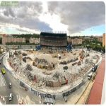 End of an era. Vicente Calderon stadium, previous home of Atletico de Madrid is almost fully demolished.