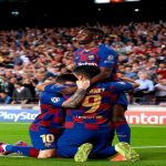 Messi, Suárez and Dembélé celebrating the winning goal.