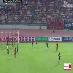 Ridiculous double overhead kick goal in Thai league