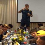 Matheus Henrique doing some standup comedy for the Brazilian national team.