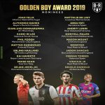 The 20-man shortlist for the 2019 Golden Boy has been announced