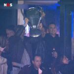 People holding Sneijder's champions league trophy in his sky box as Utrecht win 3-0 over PSV