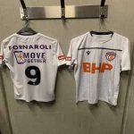 Perth Glory lost their regular kit on a Qantas flight. These are the shirts they're playing in today.