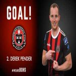 Bohemians defender Derek Pender scores the winner on his retirement match against Sligo Rovers, coming off shortly after to end an 8 year career at the Dublin club.