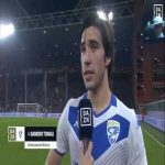 Brescia's Sandro Tonali at HT for DAZN. after his great goal: 'I tried to cross but from there if no one gets the ball it can end up in goal''