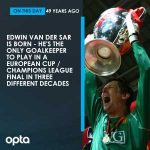 29/10/1970, Edwin van der Sar was born, the Dutchman is the only goalkeeper to have played in a European Cup/Champions League final in 3 different decades.
