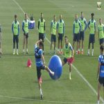 Leganes in La Liga have an interesting method of training players' agility, involving bibs, cones and yoga balls