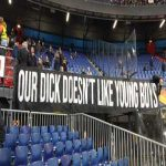 Feyenoord banner for new manager Dick Advocaat before match against Young Boys