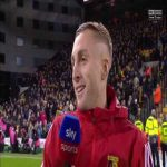 Gerard Deulofeu reacts to Watford fans singing his song during a post match interview