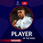 Rodrygo Goes named as UEFA Champions league Player of the week.