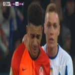 #Brazil international Taison walking off the pitch after horrendous racist abuse by #Dynamo Kyiv fans. Shattered, in tears, sent off for reacting to racism. Dynamo fans mocked club's campaign by producing stickers saying 'Like to racism' for today's derby against #Shakhtar