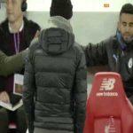 Mahrez showing City players that Salah's goal was onside