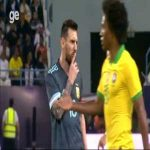 Messi telling Tite (Brazil NT Coach) to be quiet.