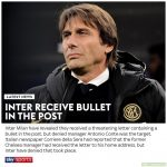 Inter Milan reveal they recieved the letter with threats and bullet not Antonio Conte.