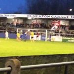 Nuneaton Borough goalkeeper taking a penalty at 0-0, misses and breaks a light. Only in Non-League