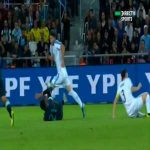 Uruguay's Diego Godin yellow card tackle vs Paulo Dybala (Argentina)