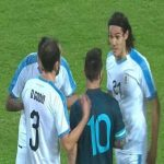 "Yesterday in the Argentina vs Brazil friendly there was an exchange between Cavani and Messi. After a fault by Messi, Cavani sent him a ""Come to fight"", to which the Argentine responded with ""When you want""."