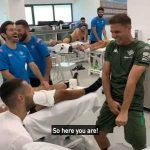 Joaquin performs a magic trick in the physio room