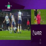 Wolves penalty shout vs Brighton for handball - not given after VAR review
