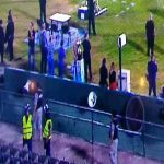 Uruguayan Torneo Clausura trophy falling into the pit at Estadio Centenario before being handed to Nacional players