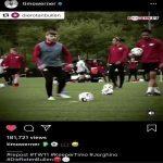 Werner taking Jorginho style penalties in training with the hashtag #Jorginho