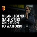 Filippo Galli cries at the reception of Watford fans on his return to Vicarage Road, 18 years after his season at the club.