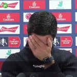 Arteta's press conference gets interrupted by an Everton ringtone
