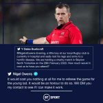 Rugby referee Nigel Owens has offered to referee a charity game free of charge for a boy at a local village club who lost both his arms and legs to a horrific disease. Class act.