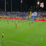 Álvaro Negredo scores with just 6 seconds passed of the game between Al Nasr and Al Ahli in the Arabian Gulf League Cup Final