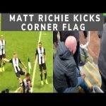 Matt Ritchie kicking corner flag after goal and injuring fan to balls. View from the stand