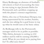 Redknapp on signing Defoe for Portsmouth. Courtesy of The Athletic