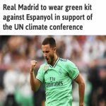 After wearing green in support of the UN climate conference, Real Madrid took an 18 min flight to the game against Salamanca