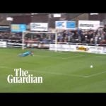 Hemel Hamstead goalkeeper sarcastically dives after long-range strike