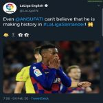 La Liga's official Twitter account mistaking Semedo for Fati