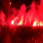 Atlético Madrid fans welcoming the team bus ahead of the CL game against Liverpool tonight
