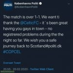 Wholesome tweet from the police of Copenhagen following Copenhagen - Celtic