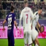 MilanTV showing the ball didn't touch Ibra's hand against Fiorentina