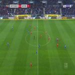 Hoffenheim and Bayern players stopped playing and pass the ball to each others