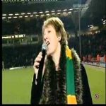 A drunk Delia Smith trying to motivate Norwich City fans.
