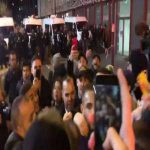 Kurzawa celebrating UCL victory with fans outside the stadium, despite coronavirus fears