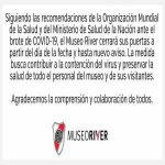 River Plate's museum has closed until further notice because of COVID-19
